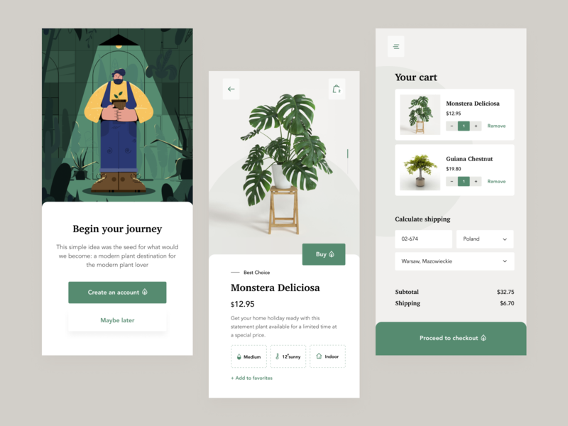 Plants shop app e-comerce ecommerce app plants design app concept fireart fireart studio ux ui
