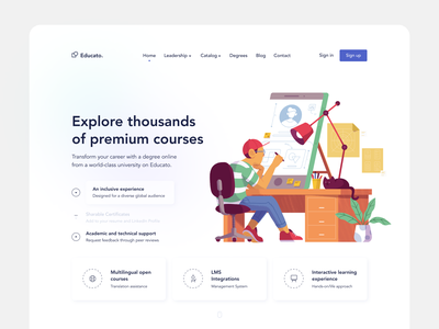 Educato. landing learning platform courses character landing page illustration main page design concept web fireart fireart studio ux ui