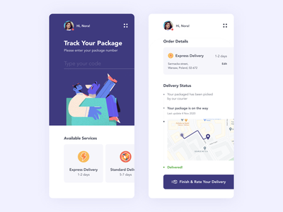 Delivery app concept character illustration app design concept fireart fireart studio ux ui