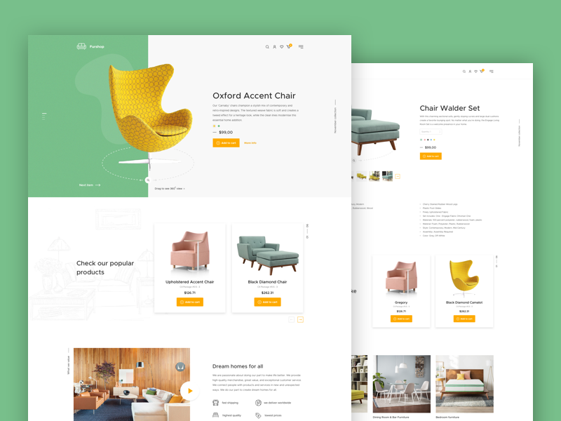 Furshop website ui ux website fireart fireart studio shop ecommerce furniture furshop product