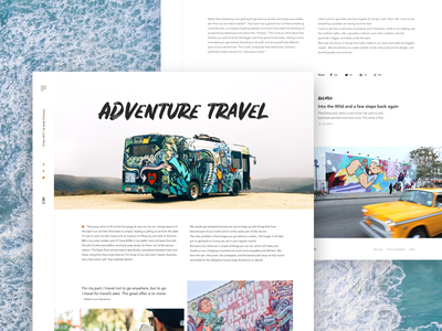 Travel article fireart studio fireart concept traveling blog article ux ui