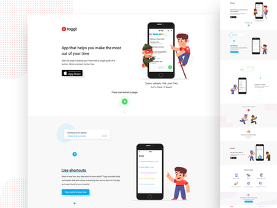 Toggl landing page illustration web landing page ux ui fireart studio fireart tracker toggl