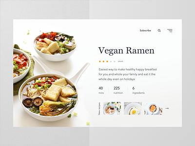 Recipe card concept website web card food recipe ux ui