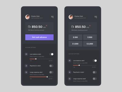 Account balance screen