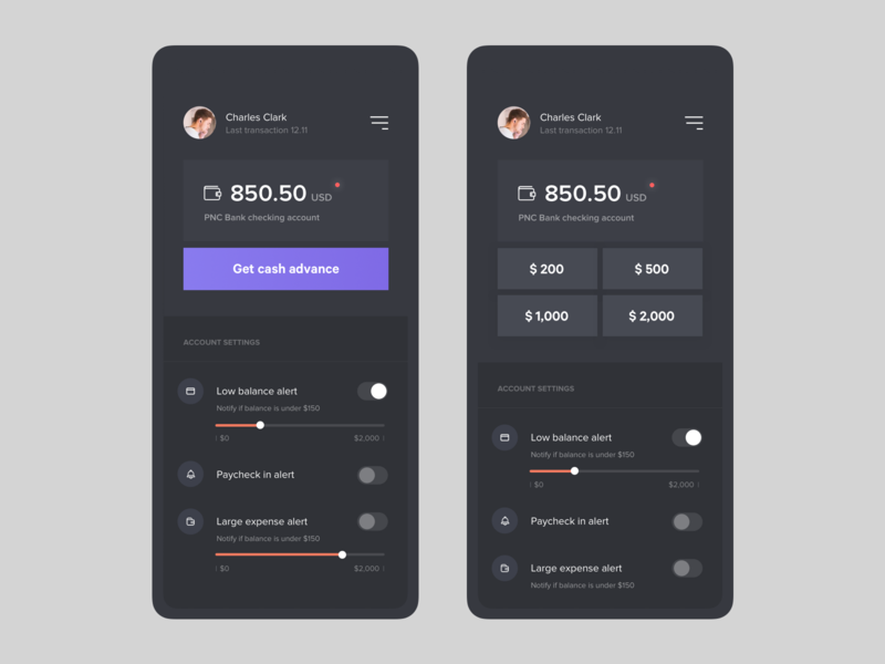 Account balance screen bank app account settings app concept fireart studio ux fireart ui