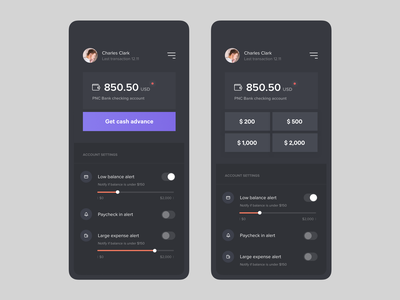 Account balance screen bank app account settings app concept fireart studio ux fireart ui