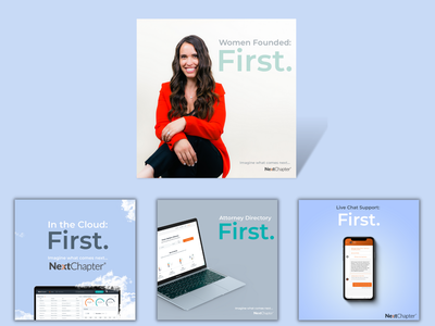 """""""First."""" Social Media campaign by NextChapter campaign marketing campaign advertisement ad ux ui website design graphic design design web design branding"""