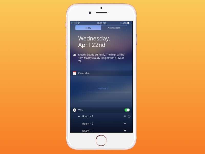 iPhone Notification Center - Wifi design ux ui dribbble wifi notification center iphone