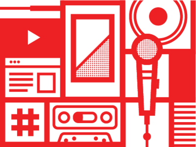 YouTube Music Mural youtube banner icon polaroid cassette hashtag graphic  design design microphone music mural youtube