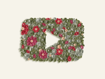 Play Button paper floral art floral youtube paper art quilled paper art quill paper quilling play button