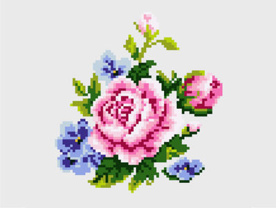 Flower sewn cross stitch vector needle point pixel flower illustration flower illustration