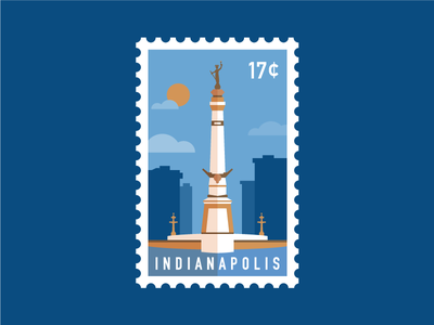 Indy Stamp statue monument circle monument illustration flat stamp indianapolis indy
