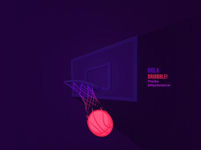Hola dribbble! vector illustration