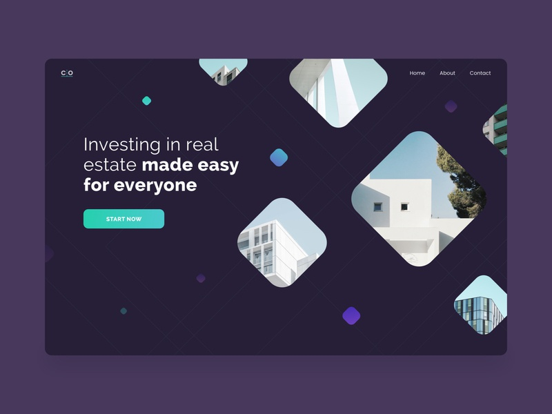 Real Estate Investments HP dark theme web  design squares apartments product investment floating ux ui real estate homepage