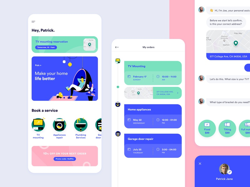 Consumer App slippers lamp plant mobile coupon funnel chat bot chat pomeranian home bubble chair timeline map application product icons ux ui illustration service