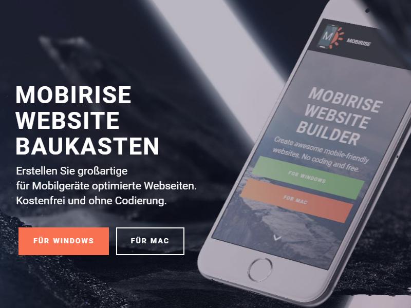 Mobirise 2.11 - New German Webseite! websites baukasten webseiten baukasten webseitenbaukasten seiten seite webseite mobirise
