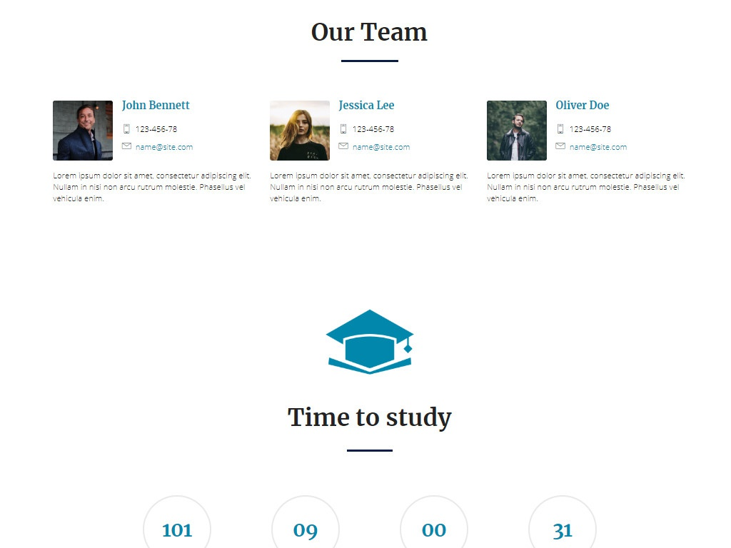 Mobirise Our Team Page Template | EducationM4! by Mobirise