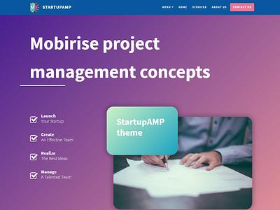 Mobirise project management concepts - StartupAMP theme webdevelopment templatedesign bootstrap htmlcss html