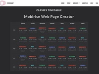 Mobirise Web Page Creator  - Classes Timetable