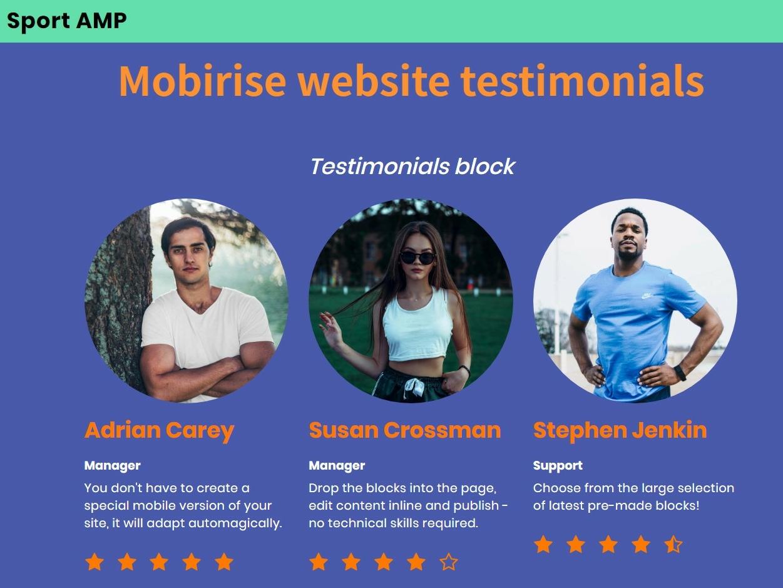Mobirise Web Page Creator -Testimonials SportAMP Theme template website creator download mobirise website maker clean css webdevelopment html software free web website builder website responsive design html5 mobile webdesign bootstrap