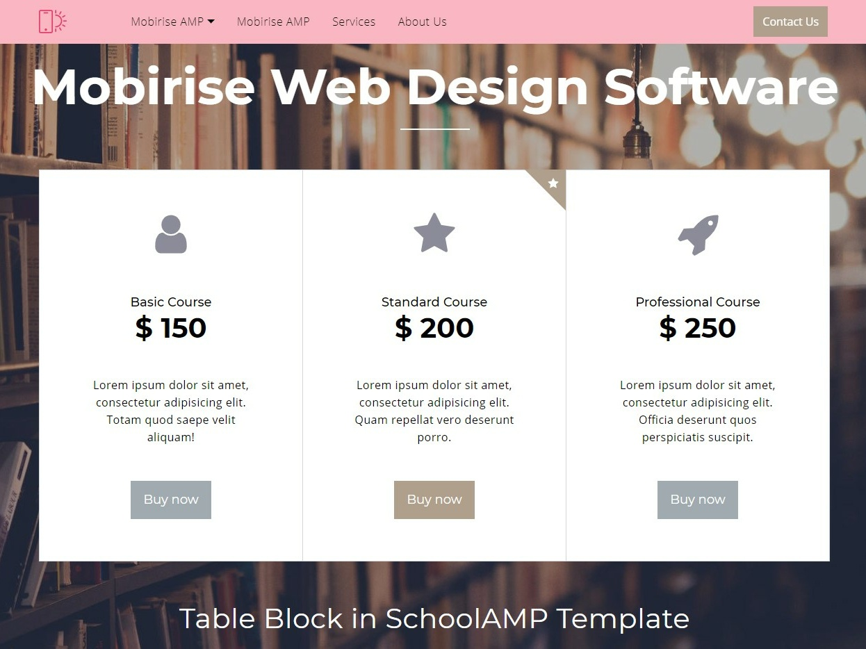 Mobirise Web Design Software Table Block In Schoolamp Template By Mobirise Builder On Dribbble
