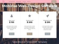 Mobirise Web Design Software - Table Block in SchoolAMP Template