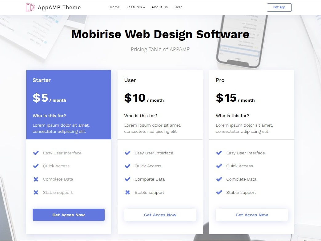 Mobirise Web Design Software Pricing Table Of Appamp By Mobirise Builder On Dribbble