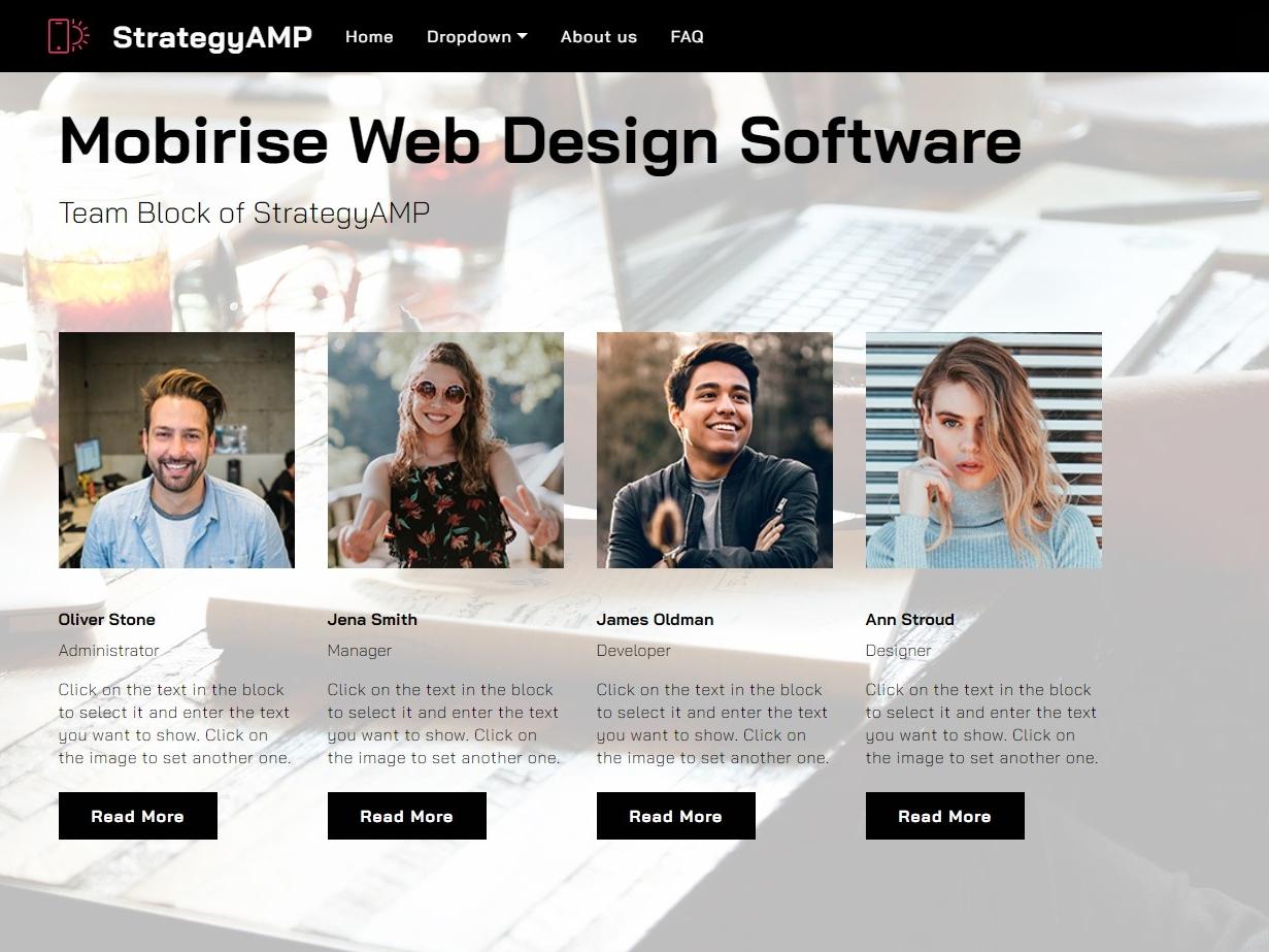 Mobirise Web Design Software -  Team Block of StrategyAMP css css3 builder clean web download template website creator website maker mobirise webdevelopment website builder html5 software design responsive website webdesign mobile bootstrap