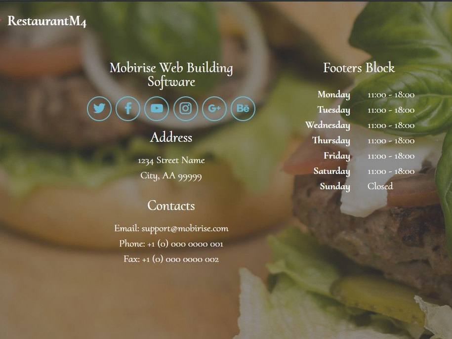 Mobirise Web Building Software - Footers Block by Mobirise Builder