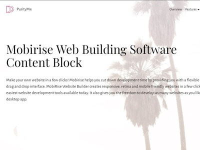 Mobirise Web Building Software - Content Block of PurityM4