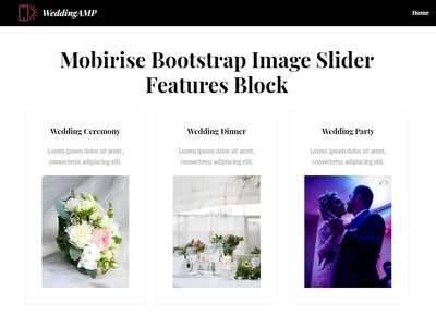 Mobirise Bootstrap Image Slider -  Features Block