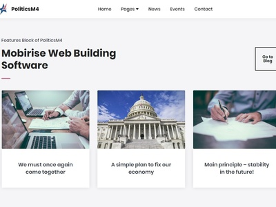 Mobirise Web Building Software -  Features Block of PoliticsM4