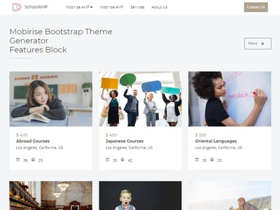 Mobirise Bootstrap Theme Generator - Features Block of SchoolAMP