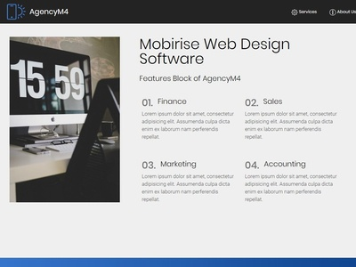 Mobirise Web Design Software -  Features Block of AgencyM4