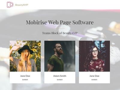 Mobirise Web Page Software - Teams Block of BeautyAMP