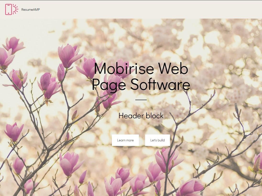 Mobirise Web Page Software -  Header block ResumeAMP illustration free download digital html mobirise template website creator design website web website maker software webdevelopment website builder responsive html5 webdesign mobile bootstrap