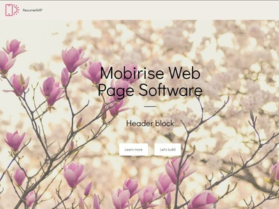 Mobirise Web Page Software -  Header block ResumeAMP
