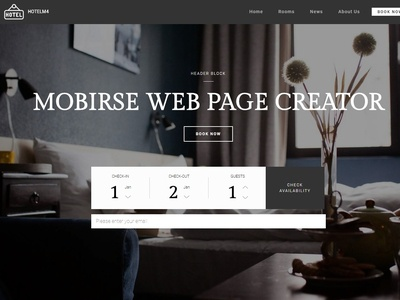 Mobirise Web Page Creator - header Block of HotelM4