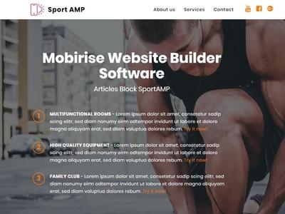 Mobirise Website Builder Software —  Articles Block SportAMP
