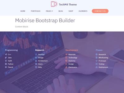 Mobirise Bootstrap Builder — Content Block TechM4