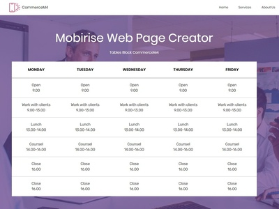 Mobirise Web Page Creator —  Tables Block CommerceM4