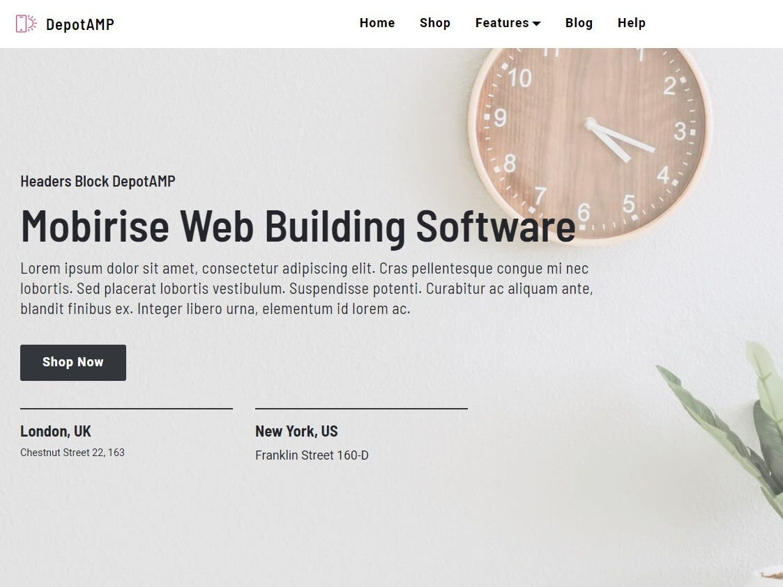 Mobirise Web Building Software — Headers Block DepotAMP by