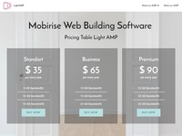 Mobirise Web Building Software —  Pricing Table Light AMP