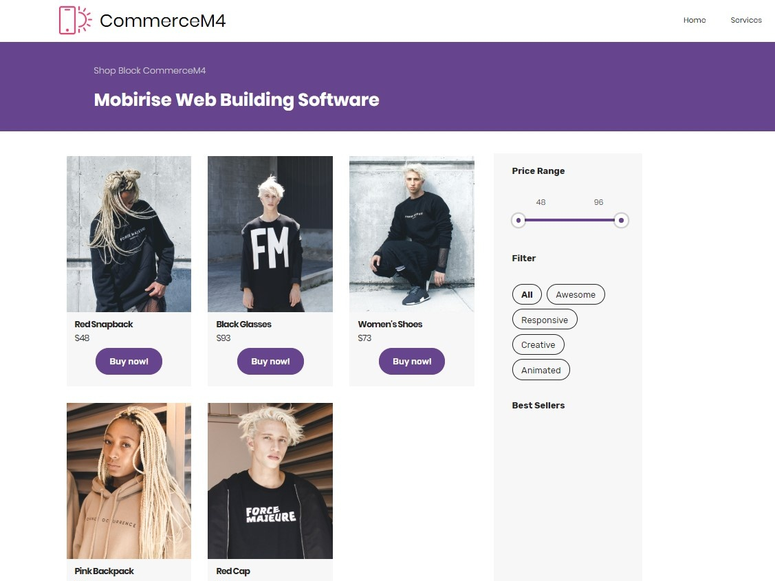 Mobirise Web Building Software Shop Block Commercem4 By Mobirise Builder On Dribbble