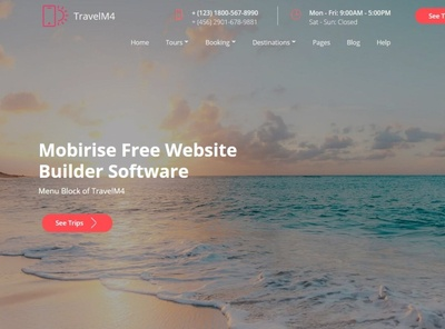 Mobirise Free Website Builder Software —  Menu Block of TravelM4