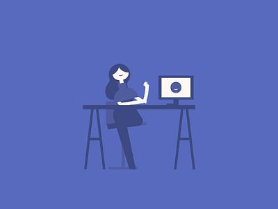Girl at desk storyboard mac desk character design female illustration character vector simple