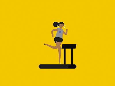Run storyboard character female treadmill fitness health mustard runner run away run