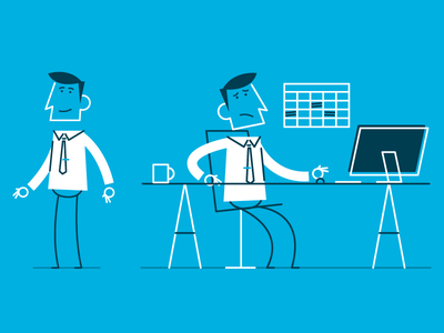 Style Frame Stan man at desk office animation styleframe character simple vector design