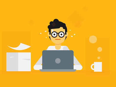 Busy busy work animation vector character design guy people fun simple character