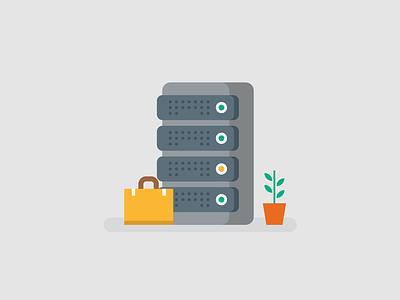Server Room plant briefcase computer server minimal icon vector simple